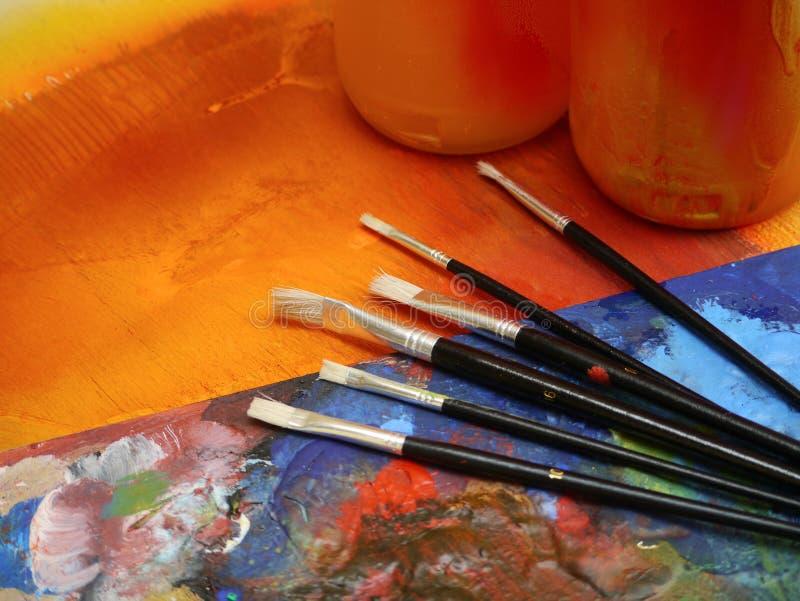 绘画图画艺术家用工具加工绘画乐趣 库存图片