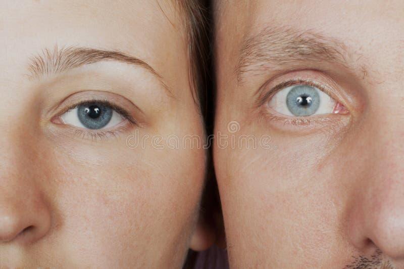 图画面对女性男性面带笑容向量 免版税库存照片