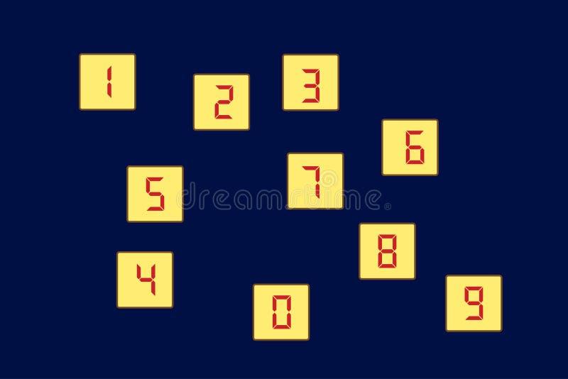 图1, 2, 3, 4, 5, 6, 7, 8, 9, 0个集合块的立方体 向量 向量例证