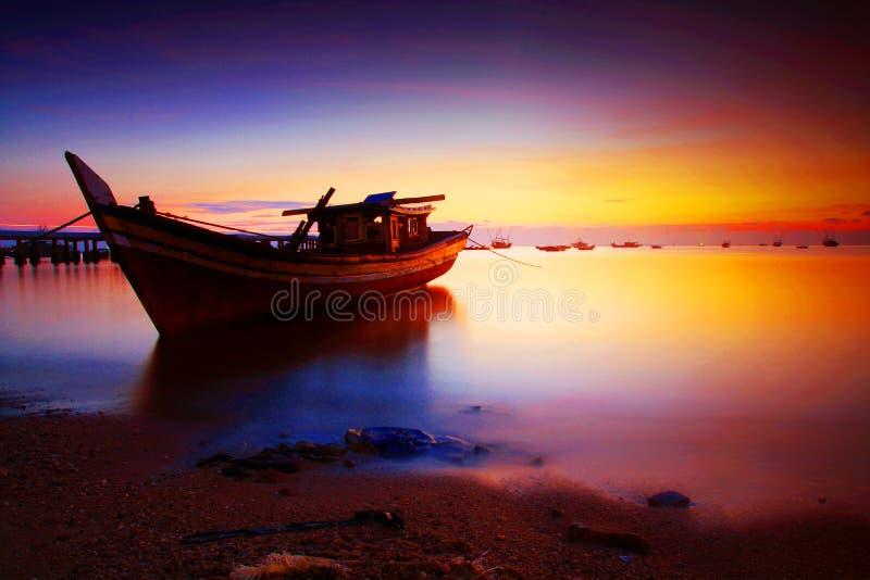 巴图Belubang海滩 图库摄影