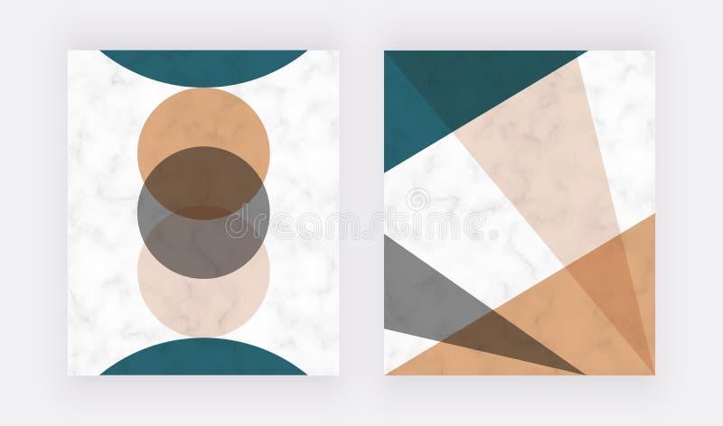 圆三角形几何抽象设计 现代背景,标语、卡片、传单、海报,保存d 库存例证
