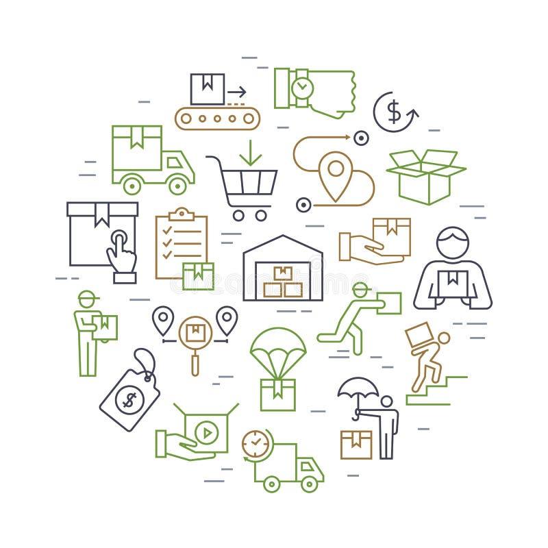 圆五颜六色的在平的样式的模板交付后勤集合 网,infographic或印刷品的传染媒介象 向量例证