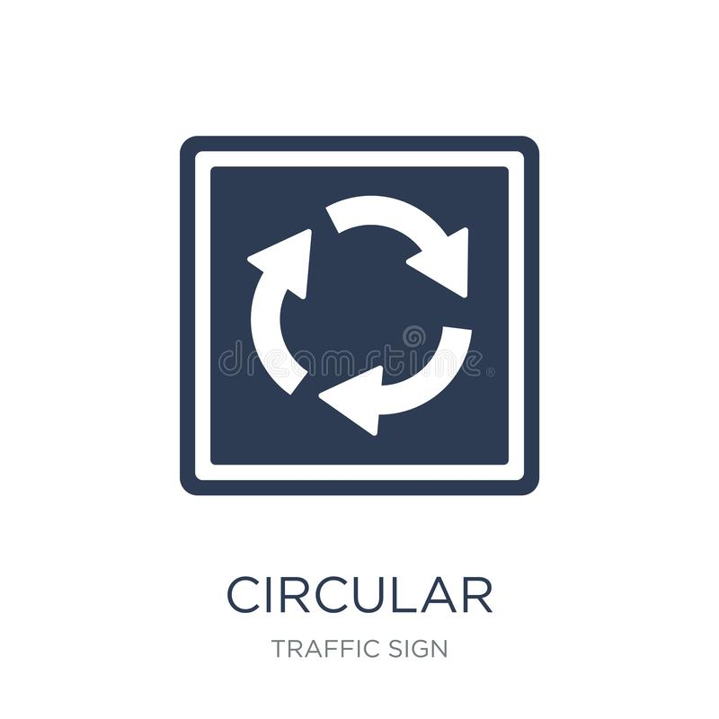 圆交叉点标志象 时髦平的传染媒介圆int 库存例证