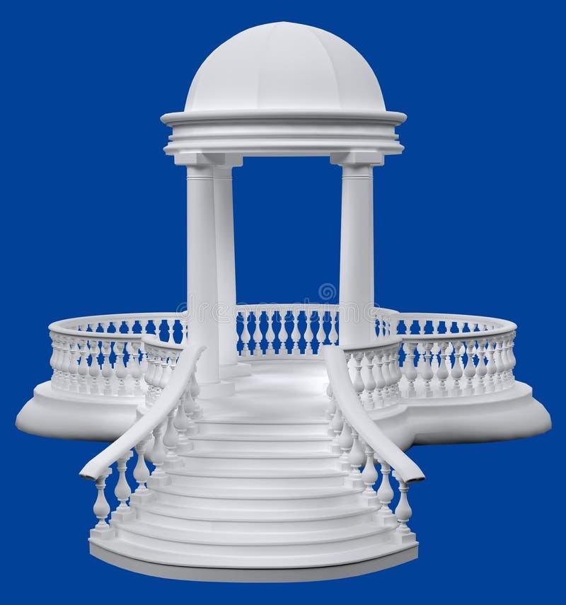 圆圆形建筑与3D回报o的专栏、楼梯栏杆和台阶 库存例证