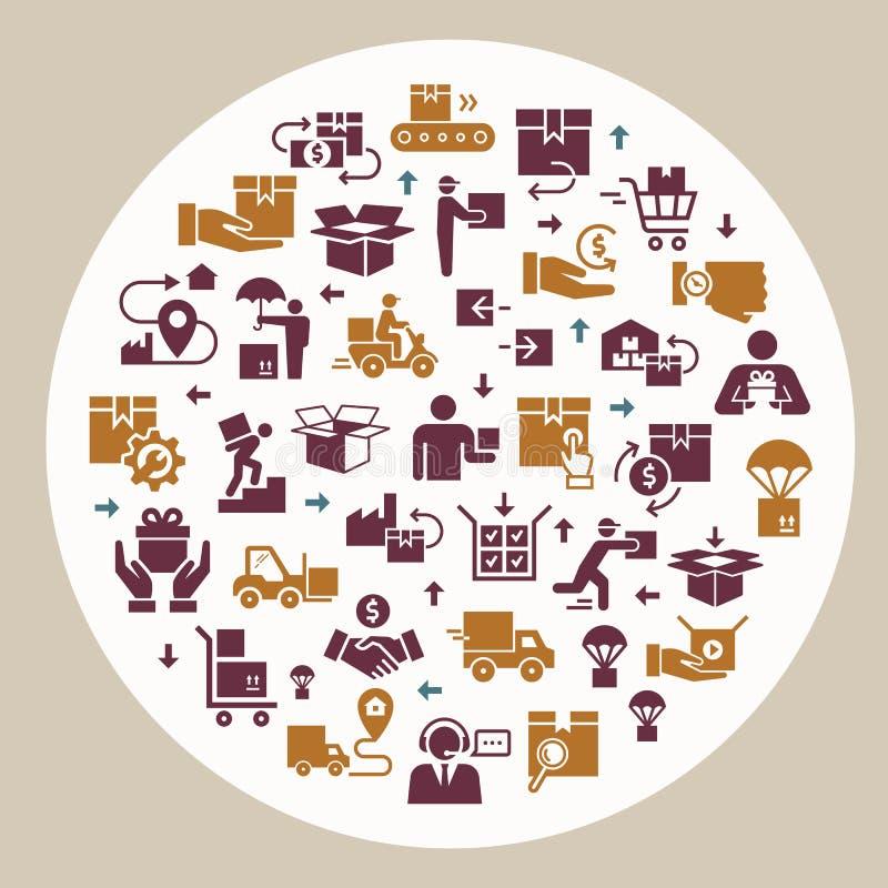 圆在平的样式的模板交付后勤集合 网,infographic或印刷品的传染媒介象 库存例证