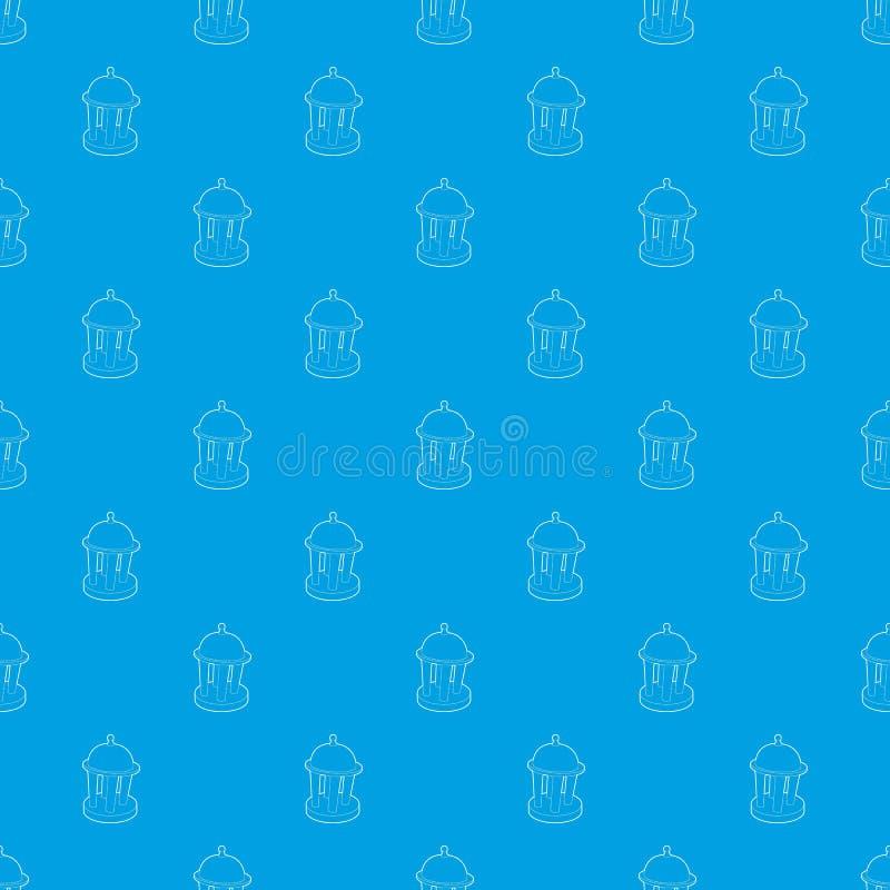 圆形建筑的样式传染媒介无缝的蓝色 库存例证