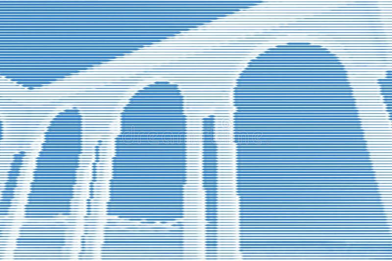 圆形建筑的眺望台图象拼贴画在沿海岸区的从水平 库存例证