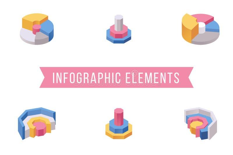 圆形统计图表元素等量例证集合 各种各样的多平实多福饼图表切片,圆图3D象包装 向量例证