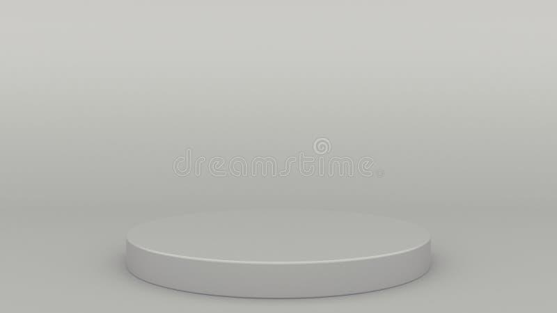 圆柱形回报现代minimalistic嘲笑的指挥台灰色场面最小的3d,空白的模板,空的陈列室 向量例证