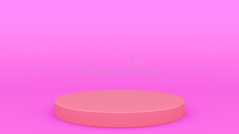 圆柱形回报现代minimalistic嘲笑的指挥台紫色场面最小的3d,空白的模板,空的陈列室 皇族释放例证