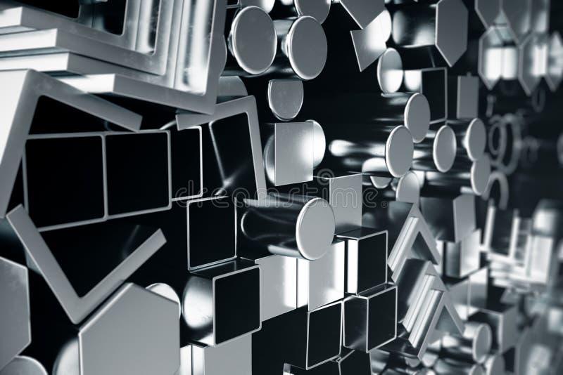 圆柱形金属钢外形,六角金属钢外形,方形的金属钢外形 另外不锈钢 向量例证