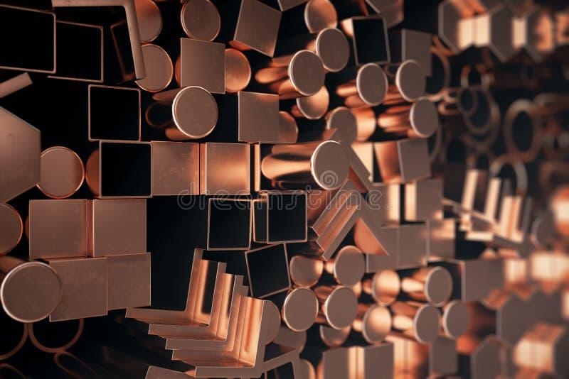 圆柱形铜钢外形,六角铜钢外形,方形的铜钢外形 另外铜钢 皇族释放例证