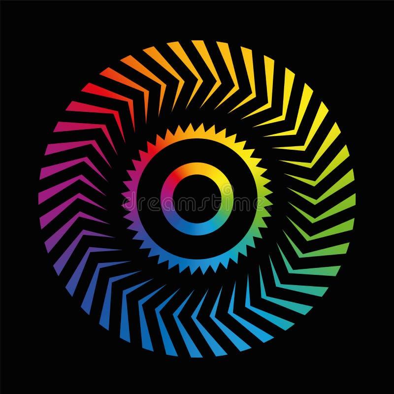 圆样式五颜六色的轮子彩虹黑色 库存例证