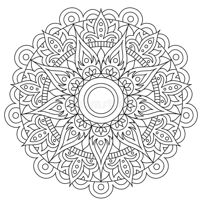 圆样式以坛场的形式无刺指甲花的,马哈迪,纹身花刺,装饰 在种族东方样式的装饰装饰品 ? 向量例证