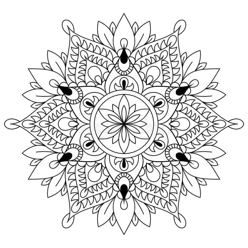 圆样式以坛场的形式无刺指甲花的, Mehndi,纹身花刺,装饰 在种族东方样式的装饰装饰品 向量例证