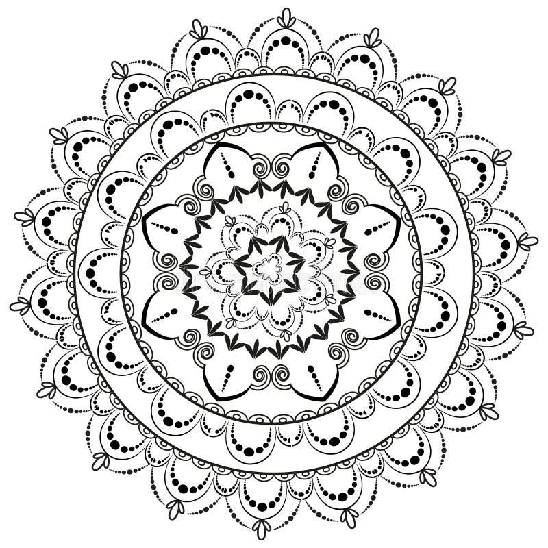 圆样式以坛场的形式无刺指甲花的 Mehndi 向量例证
