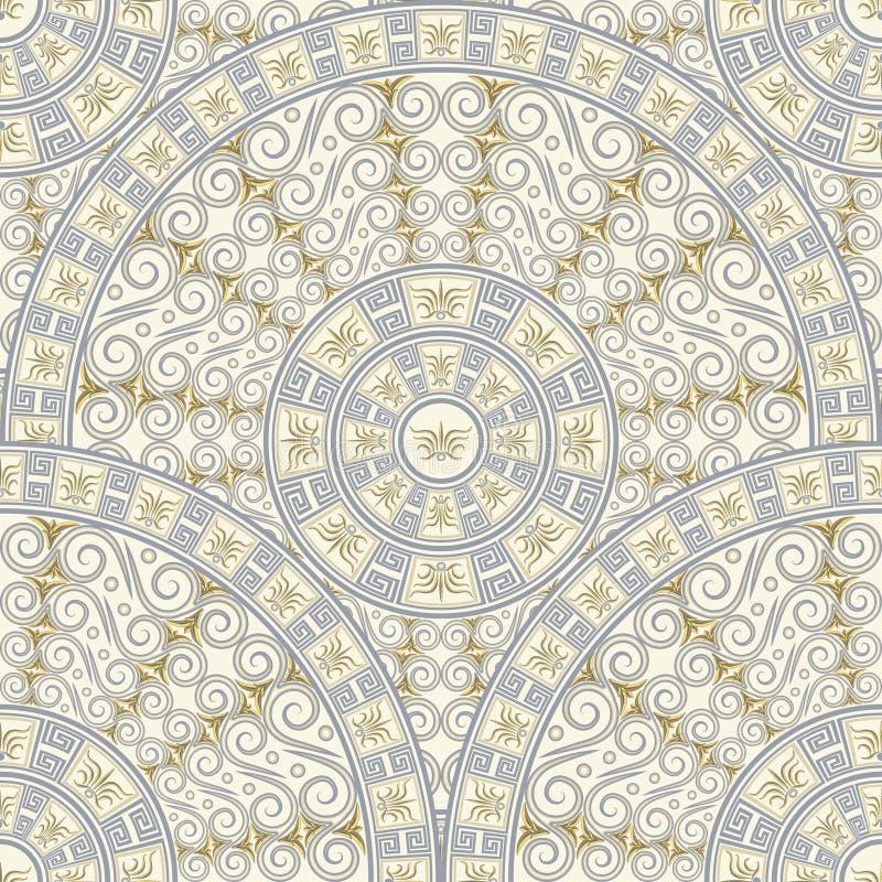 圆样式无缝的背景  在希腊样式的浅灰色的装饰品 向量例证