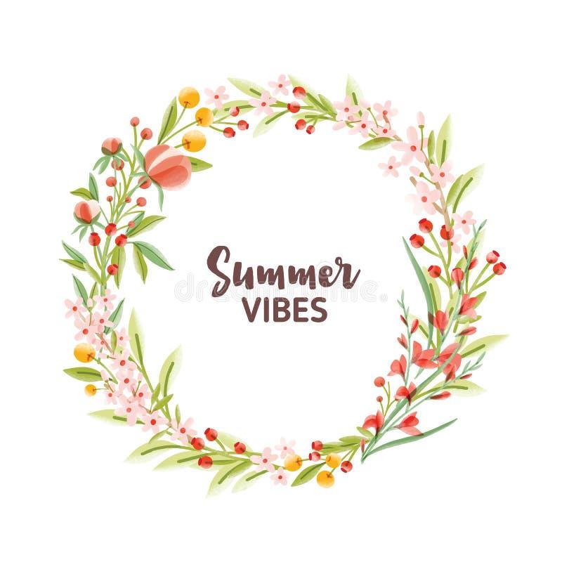 圆框架、诗歌选、花圈或者边界由五颜六色的开花的季节性花制成、莓果和叶子和夏天 皇族释放例证