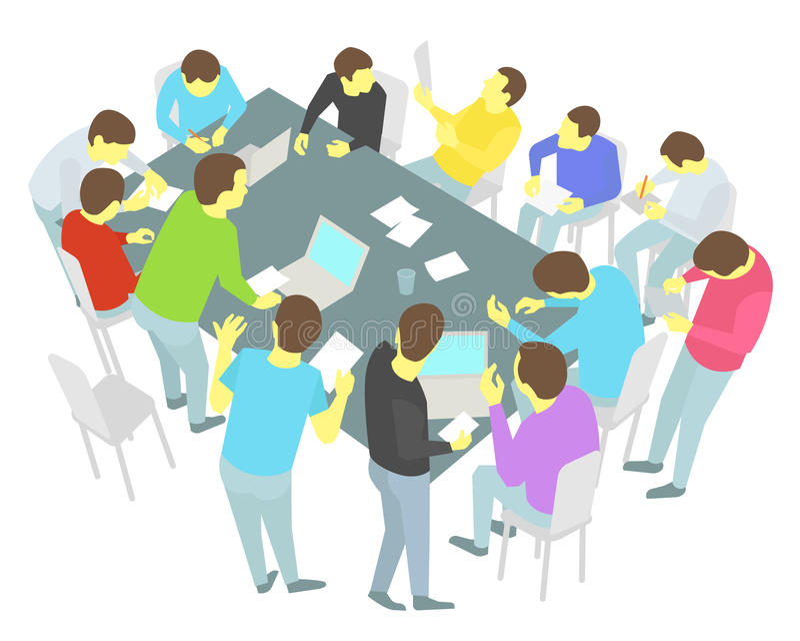 圆桌谈话 十三个人被设置 小组商人队会议会议 库存例证