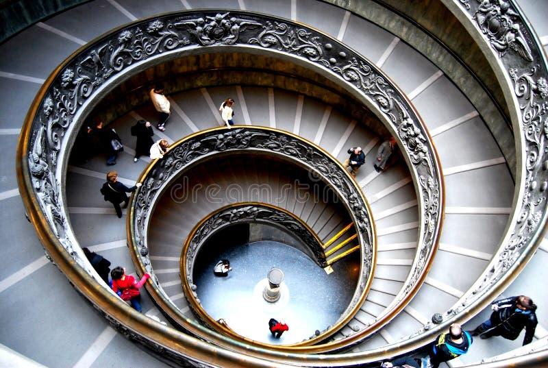 圆楼梯在梵蒂冈-罗马,意大利 库存图片