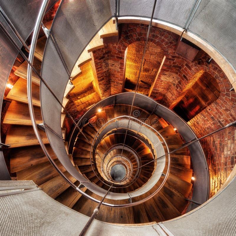 圆楼梯灯塔 库存照片