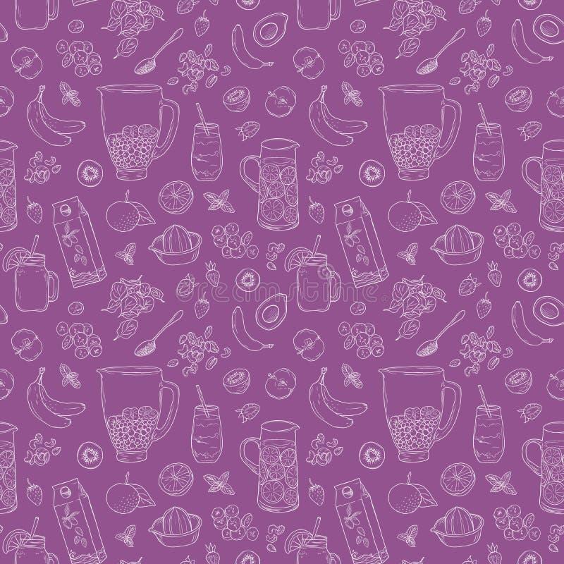 圆滑的人自然水果饮料 Superfood健康戒毒所饮食 速写样式传染媒介背景 手拉的夏天果汁饮料 库存例证
