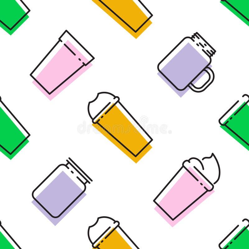 圆滑的人Superfoods和健康或者戒毒所饮食食物概念的五颜六色的无缝的样式在线型 库存例证