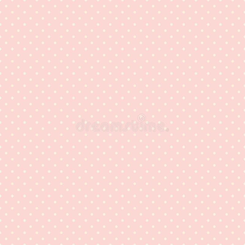 圆点无缝的样式 在桃红色背景的白色小点 有益于包装纸设计,婚姻的邀请和贺卡 库存例证
