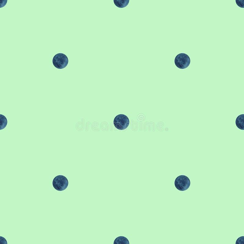 圆点无缝的样式 在浅绿色的背景的水彩蓝色圈子 绿色纹理 向量例证