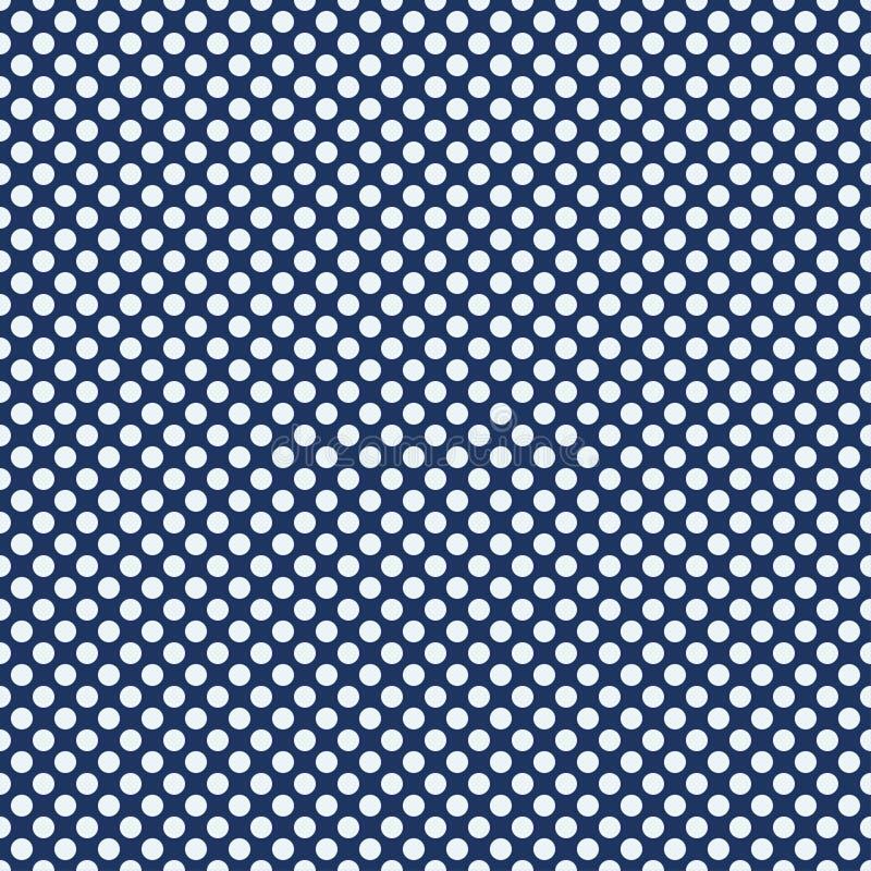 圆点无缝的样式 在蓝色背景的白色圈子 格子花呢披肩的,桌布,衣裳纹理 也corel凹道例证向量 向量例证