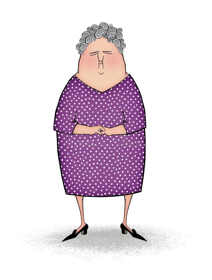 圆点礼服的逗人喜爱的愉快的老妇人 库存例证