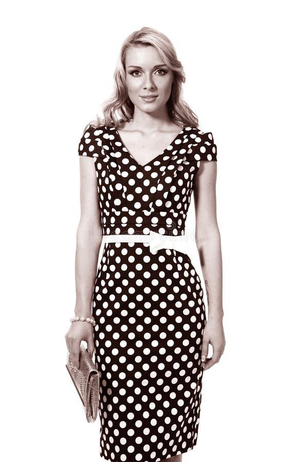 圆点礼服的黑白照片妇女 库存图片