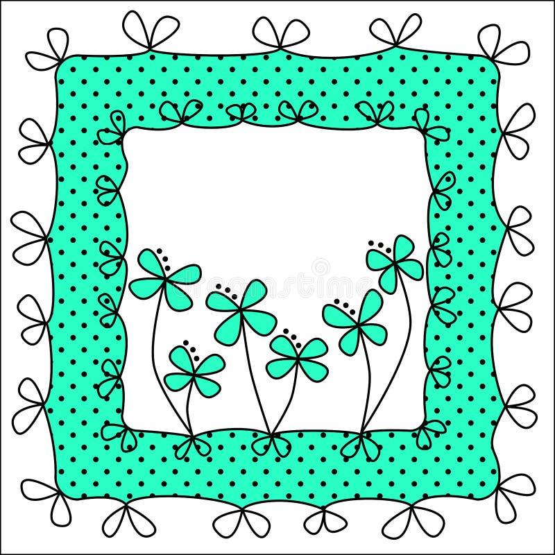圆点花样的布料和弓框架 向量例证