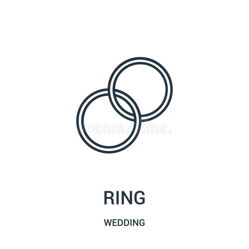 圆环从婚姻的收藏的象传染媒介 稀薄的线圆环概述象传染媒介例证 库存例证
