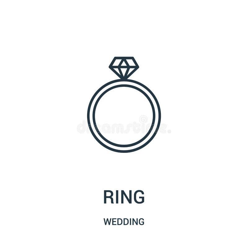 圆环从婚姻的收藏的象传染媒介 稀薄的线圆环概述象传染媒介例证 向量例证