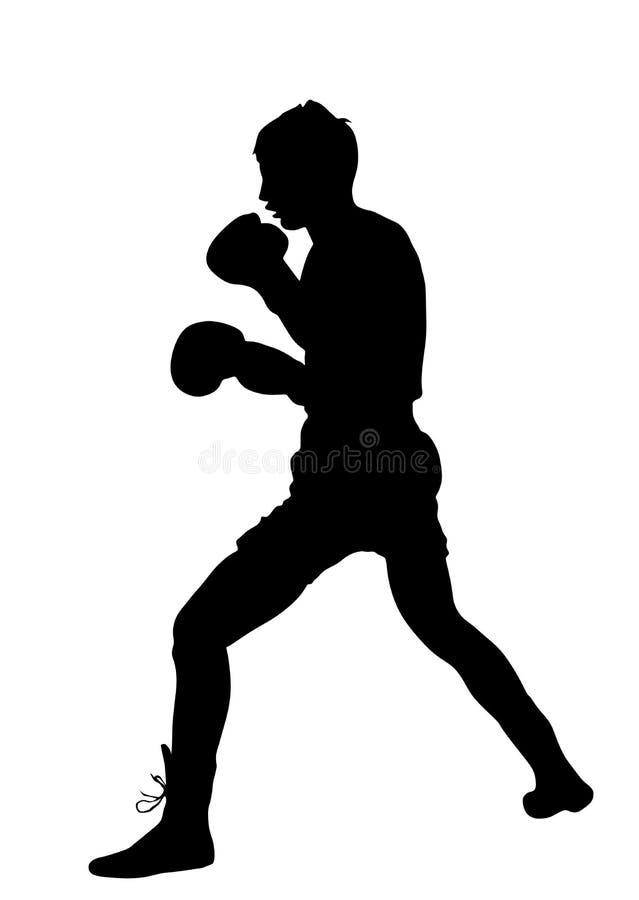 圆环剪影的拳击手 饶恕在拳击训练 向量例证