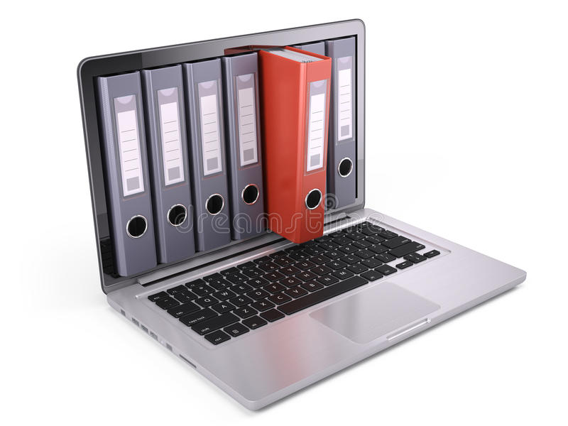 圆环包扎工具,在膝上型计算机里面屏幕的文件夹在白色的 库存例证