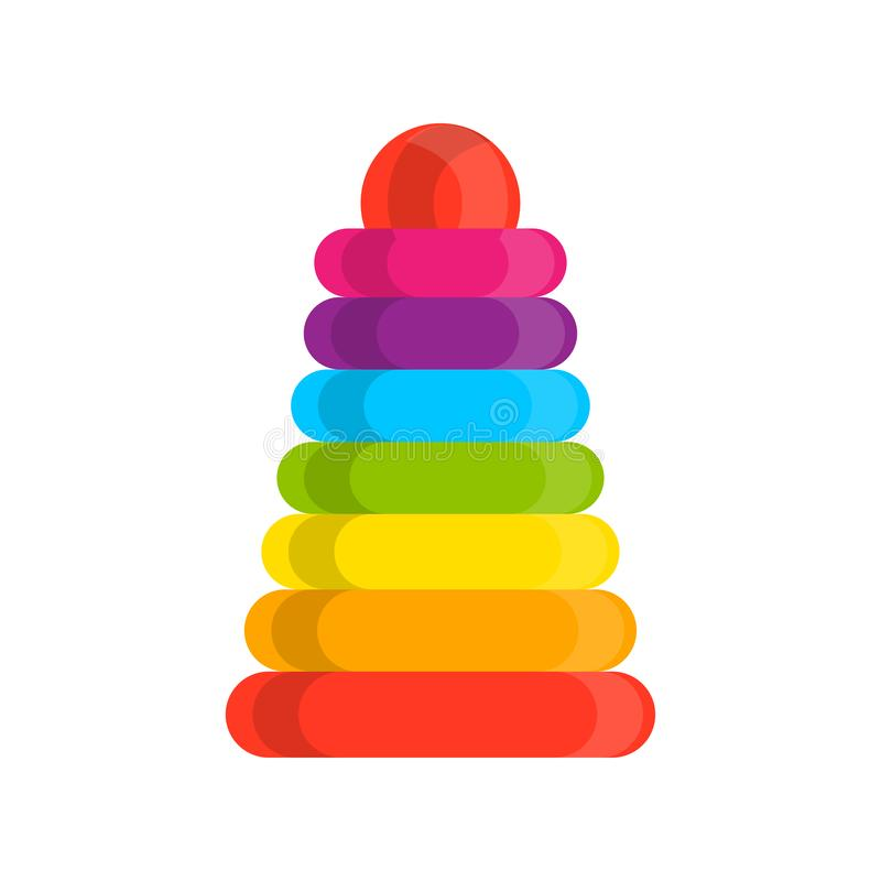 圆环堆货机木玩具彩虹金字塔传染媒介象 教育视觉婴孩被装配的修造的塔例证 皇族释放例证