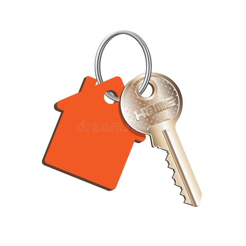 圆环的与一红色keychain,房地产,物产租务销售购买的概念关键房子  向量例证