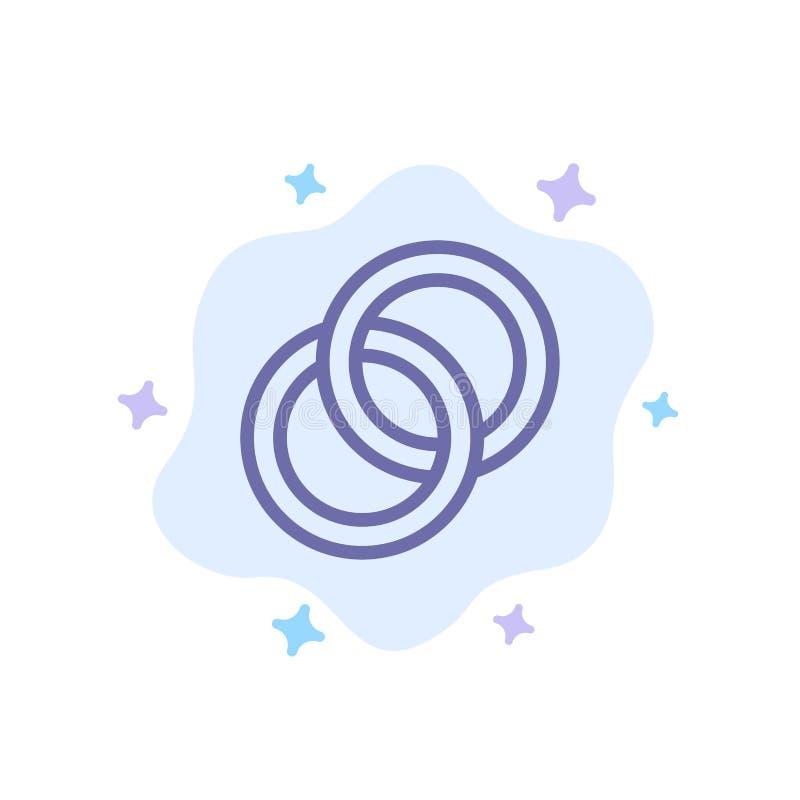 圆环,婚礼,夫妇,在抽象云彩背景的订婚蓝色象 向量例证