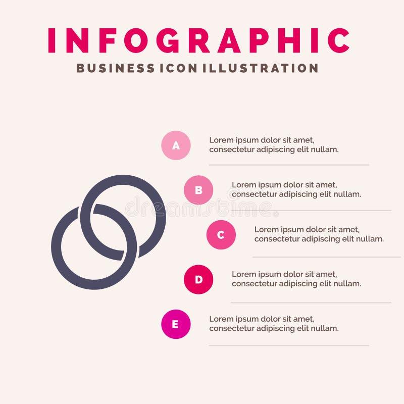 圆环,婚礼,夫妇,订婚坚实象Infographics 5步介绍背景 向量例证