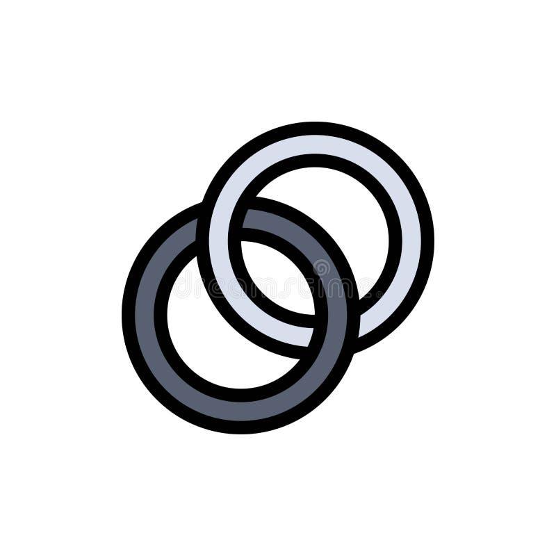圆环,婚礼,夫妇,订婚平的颜色象 传染媒介象横幅模板 向量例证