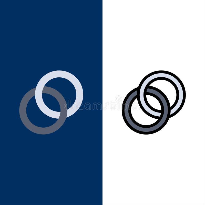 圆环,婚礼,夫妇,订婚象 舱内甲板和线被填装的象设置了传染媒介蓝色背景 库存例证