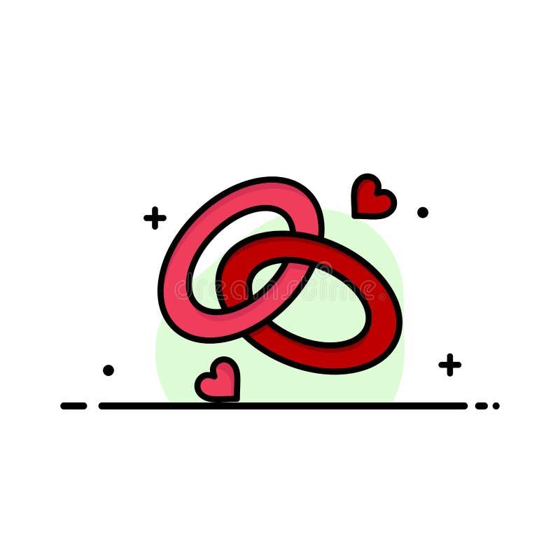 圆环,订婚,结婚戒指,定婚戒指,爱企业平的线被填装的象传染媒介横幅模板 皇族释放例证