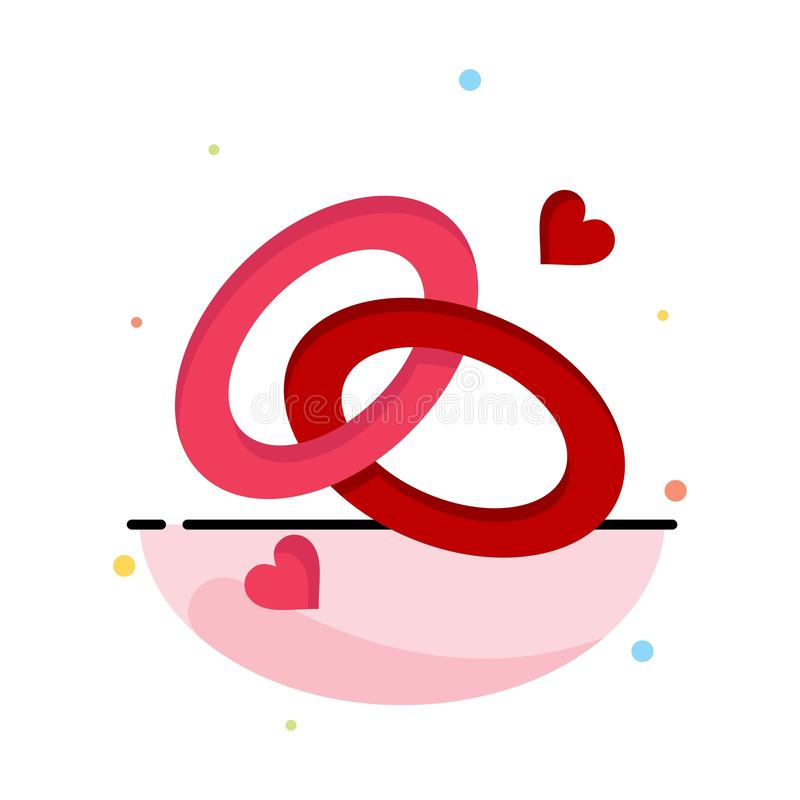 圆环,订婚,结婚戒指,定婚戒指,爱摘要平的颜色象模板 库存例证