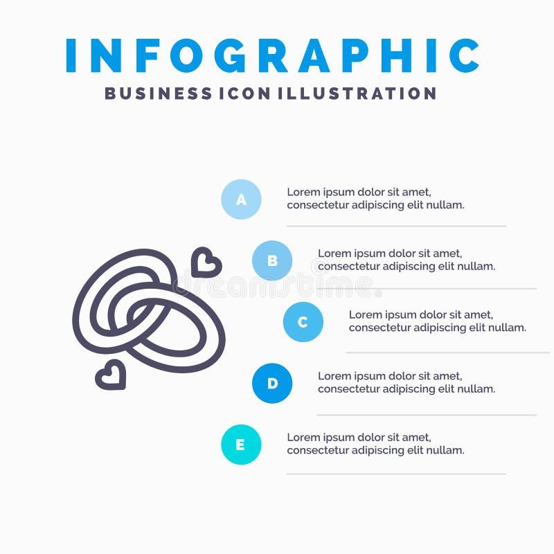 圆环,订婚,结婚戒指,定婚戒指,爱线象有5步介绍infographics背景 向量例证