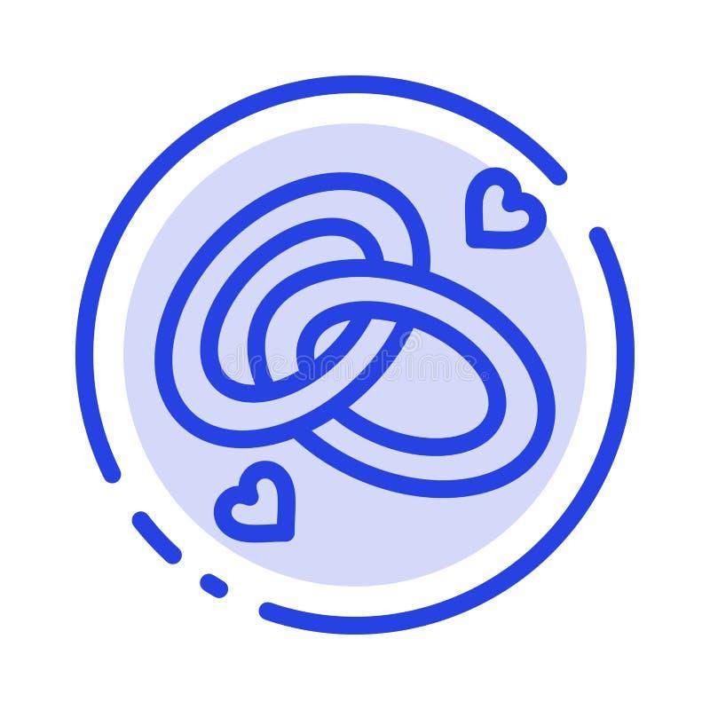 圆环,订婚,结婚戒指,定婚戒指,爱蓝色虚线线象 向量例证