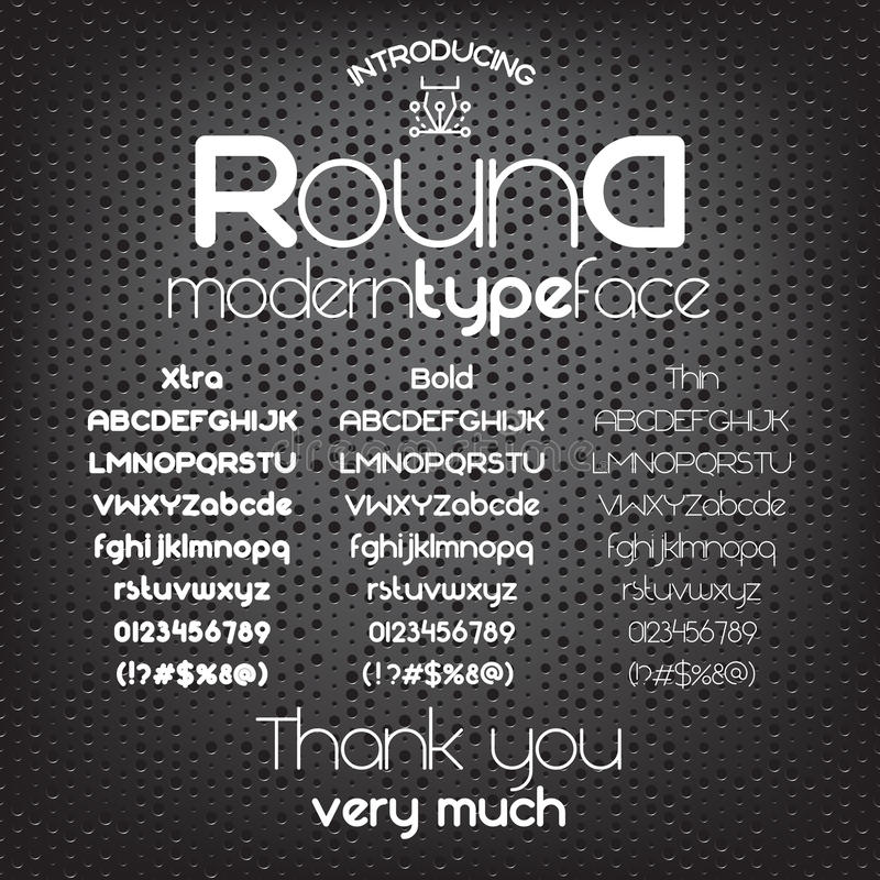 圆现代minimalistic Sans Serif的字体 皇族释放例证