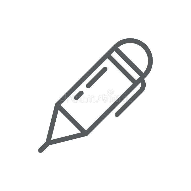 圆珠笔传染媒介例证编辑可能的象-概述办公用品仪器的映象点完善的标志 库存例证