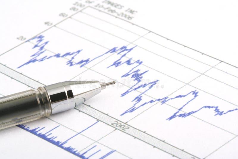 圆珠笔图表笔股票 免版税图库摄影